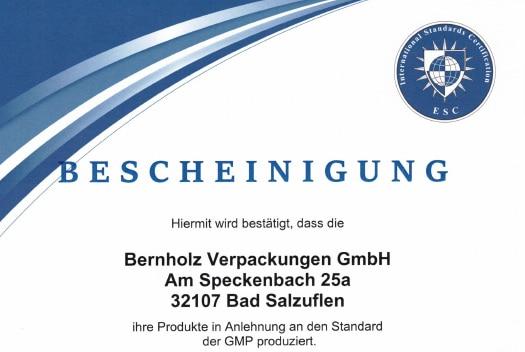 Zertifizierung nach GMP /  DIN EN ISO 22716